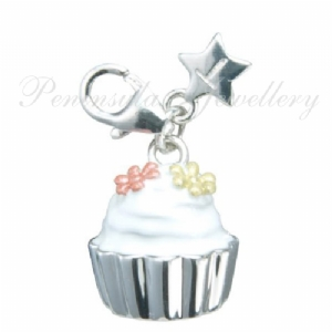 Tingle Cup Cake clip on Sterling Silver Charm with Gift Box and Bag SCH164